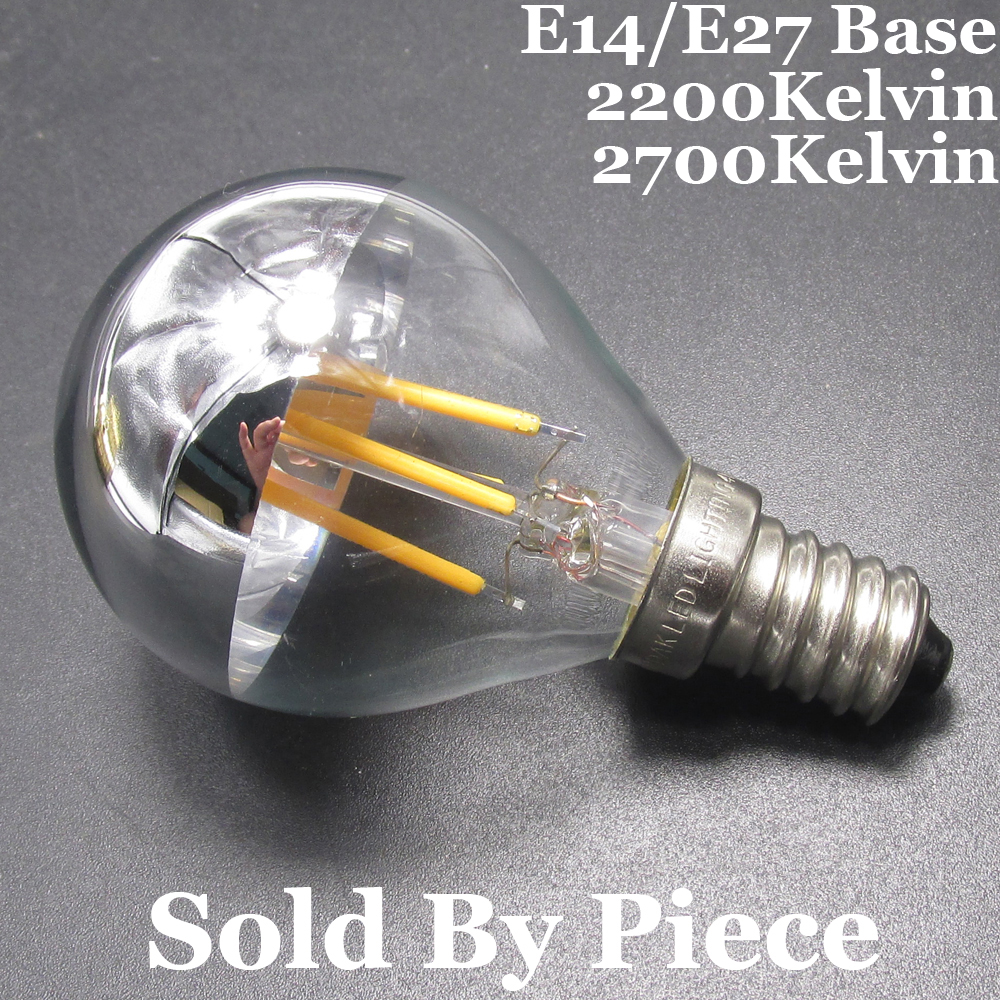 Incandescent Lamp 40W Equal E14/E27 Golf Ball G45 Half Silver/Chrome 220V AC Dimmable <font><b>LED</b></font> Filament Small Globe Edison Light <font><b>Bulb</b></font> image