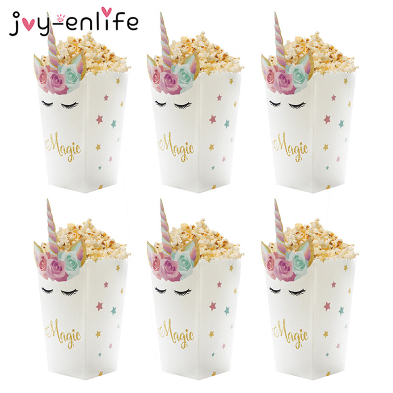 6pcs Unicorn Popcorn Boxes Popcorn Bags Wedding Decoration Birthday Party Unicornio Party Baby Shower Baptism Favors