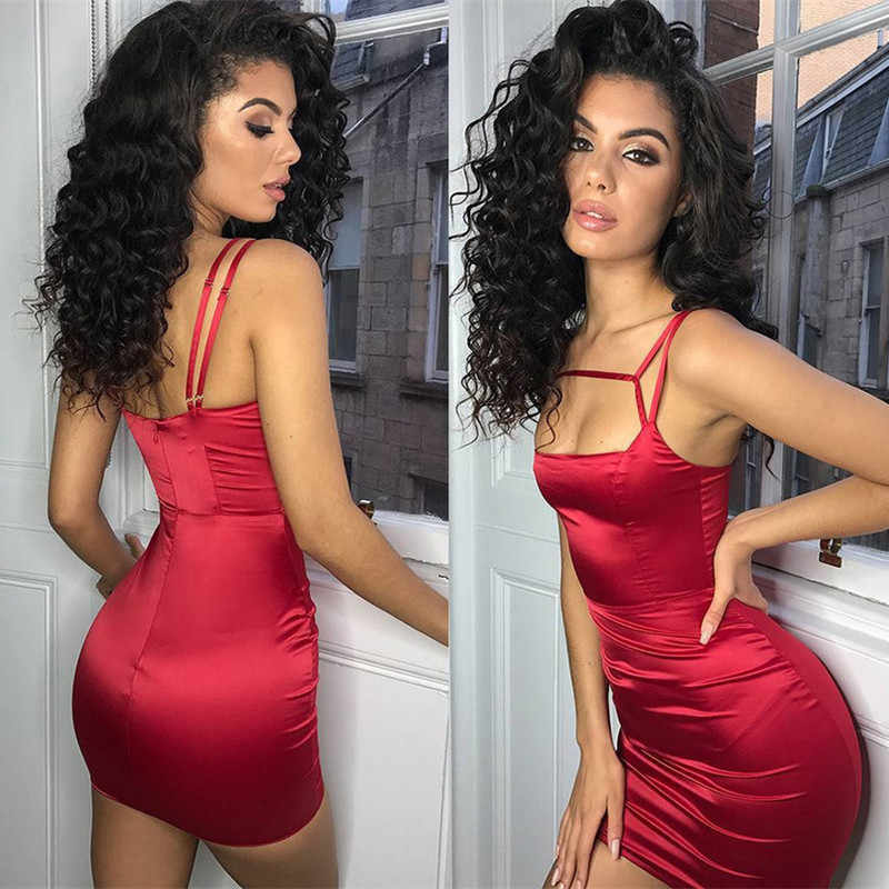 403a0abda35 ... BOOFEENAA Satin Silk Bodycon Dress Spaghetti Strap Mini Sexy Club Dress  Red Black Women Dresses Evening ...