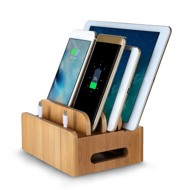 Mobile Phone Holder+Charge Bamboo Multifunction Multi Device Organizer  Stand Charging Station For IPhone For