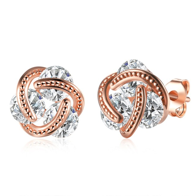 Rose Gold Color Ball Stud Earrings With Zircon Cool Party Style Charm Jewelry Pretty Birthday Gift