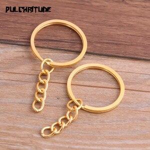 Image 5 - Porte clés, 10 pièces, 4 couleurs, plaqué, 25mm de Long, rond, fendu, vente en gros