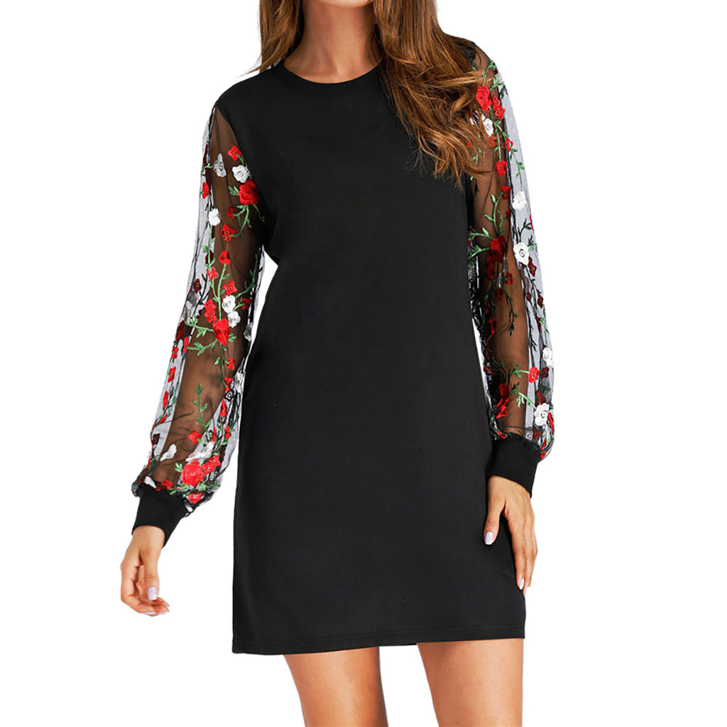 feitong Fashion Women Long Sleeve O-Neck Floral Printed Mini Dress Night  Club Sexy Party 296cabde774f