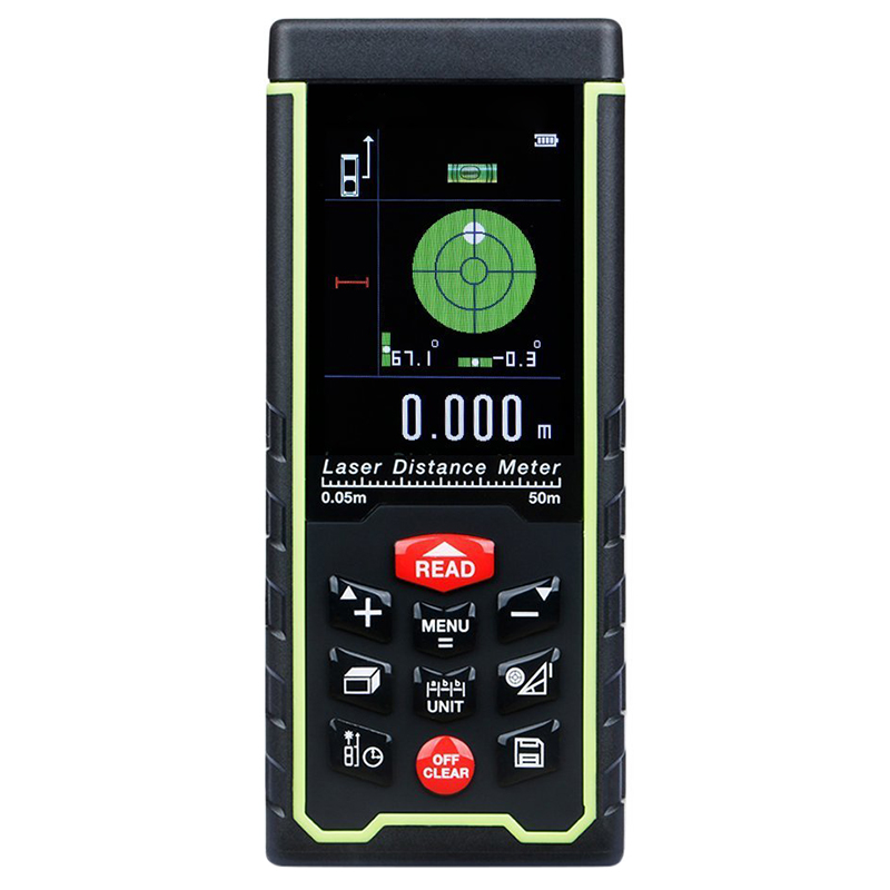 THGS Upgraded Rechargeable Handheld Laser Distance Meter with Large LCD Backlight Multi-direction Level Bubble PC Connect High