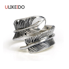 100% Pure 925 Sterling Silver Jewelry Feather Rings Wide Version Men Signet Ring For Women Special Christmas Gift 1061 925 pure silver christmas bells silver pendants