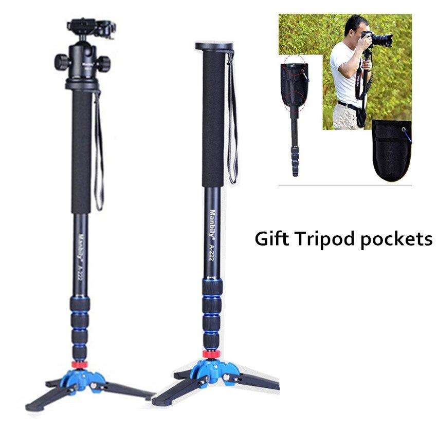 Manbily A-222 Professional 65-inch Camera Aluminium Monopod with Folding Three Feet Support Stand Tripod Balance Stand Base