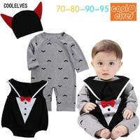 Free Shipping Children Baby Boys Spooky Cartoon Halloween 3 Piece Set Romper Vest Hats Bow Suit