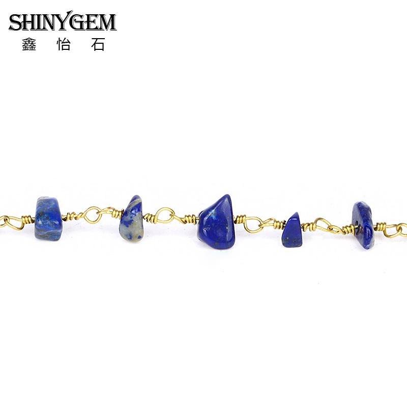 Neue Vergoldung Messing Draht Gewickelt Lapis Lazuli Stein Perle ...
