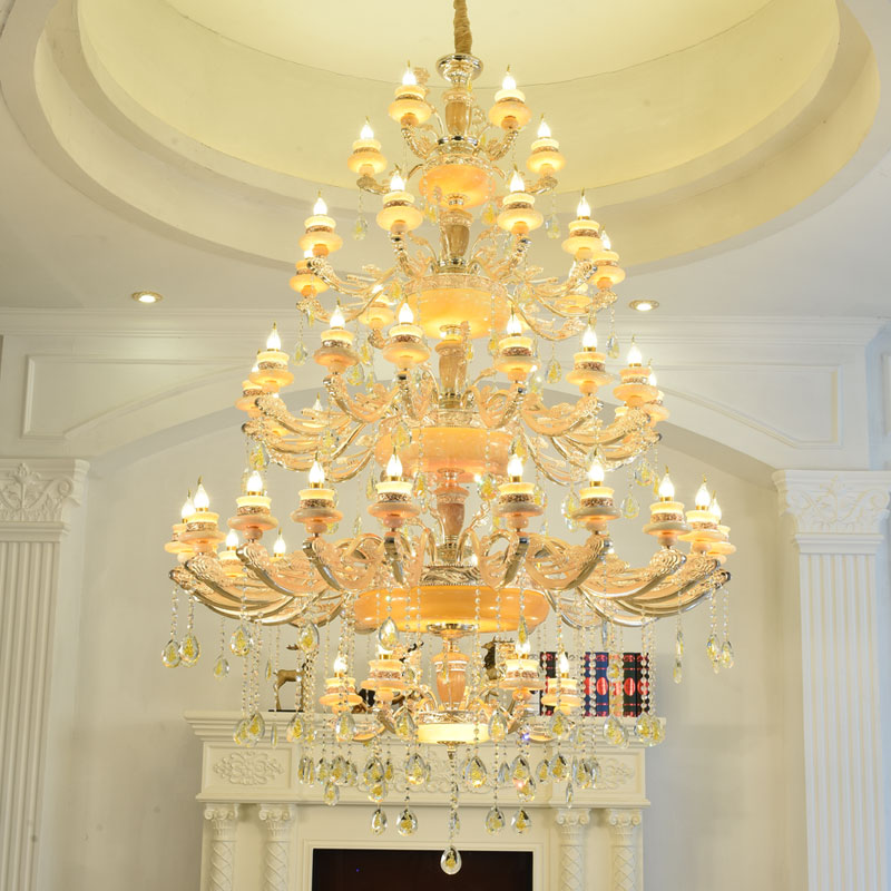 Grand Living Room chandelier lamparas duplex Floor Villa Hotel LED Chandeliers Jade E14 Hanging Lamp Gold Crystal lamp lustre|living room chandelier|led chandelier|crystal lamp - title=