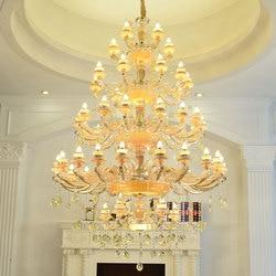 Grand żyrandol do salonu lamparas duplex piętro Villa Hotel żyrandole LED Jade E14 lampy wiszące złoto kryształowe lampy lustre w Żyrandole od Lampy i oświetlenie na