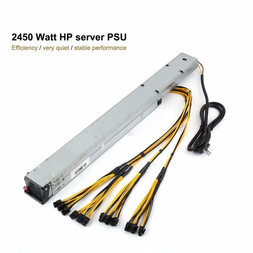 Alta eficiencia 2450 vatios fuente de alimentación PSU servidor con listas para cableado de uso para antminer minero máquina