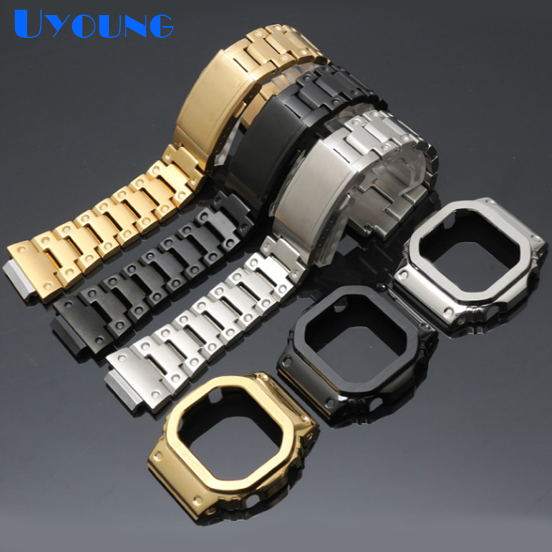 High-end 316L Stainless Steel Watchband Case For g-shock DW5600 GW-5000 5035 GW-M5610 <font><b>strap</b></font> Modification Of watch Accessories image