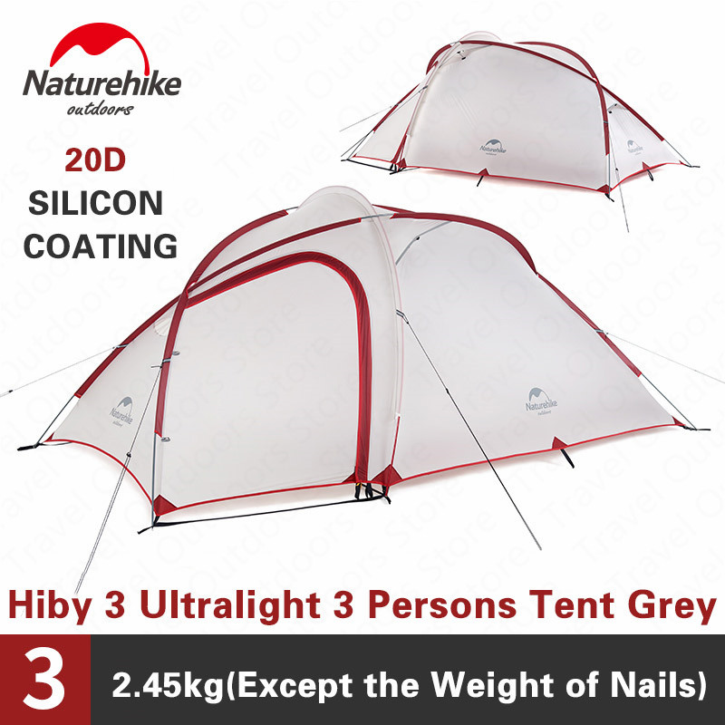 Naturehike Outdoors Tent Hiby3 Ultralight 2 3 Persons 20D Silicone Waterproof Double Layer 4 Season Family Tent NH17K230-PNaturehike Outdoors Tent Hiby3 Ultralight 2 3 Persons 20D Silicone Waterproof Double Layer 4 Season Family Tent NH17K230-P