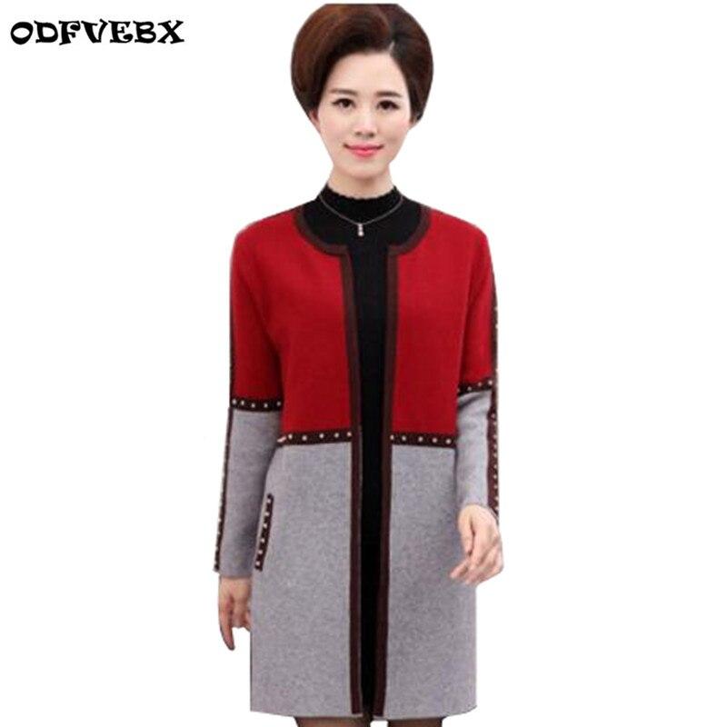 Moyen-âge printemps mode tricot chandail manteau femmes printemps 2019 grande taille lâche moyen Long Outwear automne chandail manteau ODFVEBX