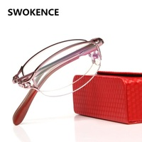 Women's High Grade Fashion Rhinestone Inlay Foldable Reading Glasses Brand Upscale Pink Presbyopia Hyperopia Folding Reader.R108