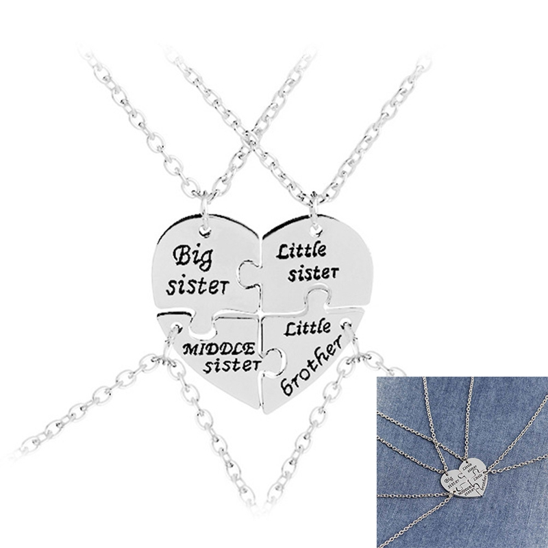 4Pcs/Set Big Middle Little Sister Brother Necklaces For 4 Heart Broken For 4 Cubs Baby with Heart Necklace Stitching Jewelry button