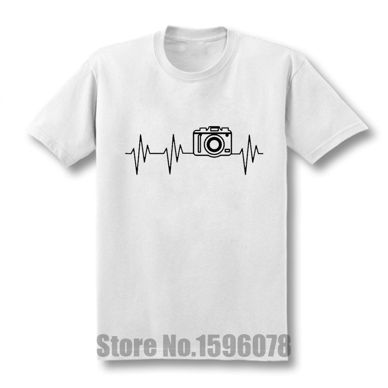new photographer heartbeat photo t shirts men cotton short sleeve summer t shirts hip hop under. Black Bedroom Furniture Sets. Home Design Ideas