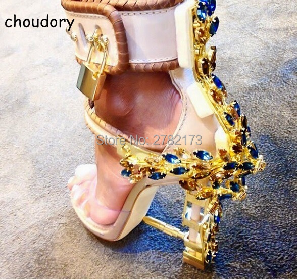 2017 New Ankle Wrap Rhinestone High Heel Shoes Woman Abnormal Jeweled heels Gladiator Sandals Women PVC Padlock Sandals Shoes 2017 new ankle wrap rhinestone high heel shoes woman abnormal jeweled heels gladiator sandals women pvc padlock sandals shoes
