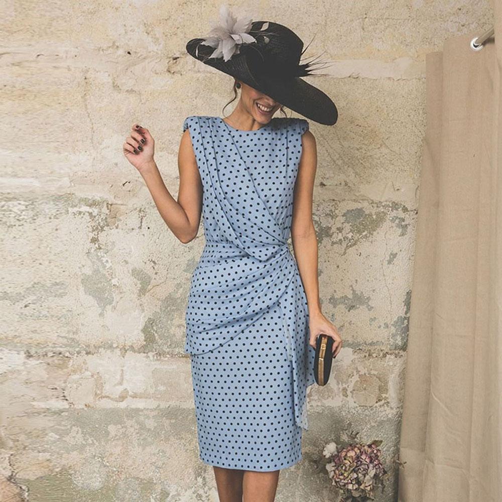 Женское платье-карандаш Wipalo, винтажное плиссированное платье-карандаш в горошек большого размера, для офиса и работы, S-3XL