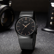 New Business Quartz Wrist Watches for Men Best Gift Bracelet Luxury Brand Stainless Steel Black Men's Watch with Golden Pointers
