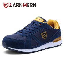 LARNMERNメンズ安全靴スチールトウスエードワークシューズキャスル通気性スニーカー保護履物