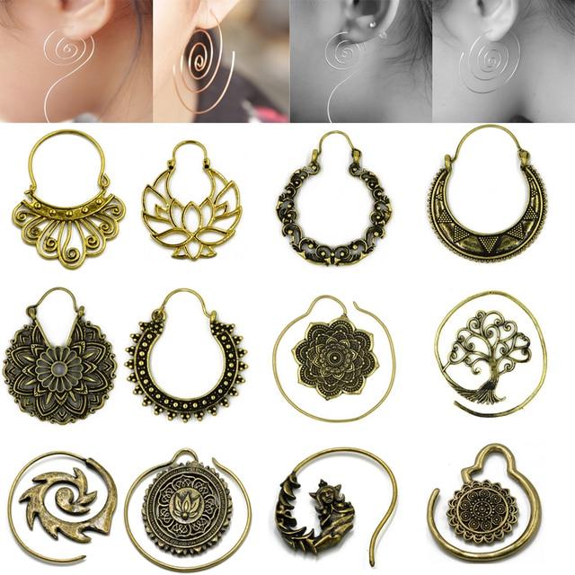 c0559fcb1 Brass Gold Tone Ornate Swirl Hoop Gypsy Indian Beaded Mandala Lotus Flower  Tribal Ethnic Earring Boho ear Piercing Body Jewelry
