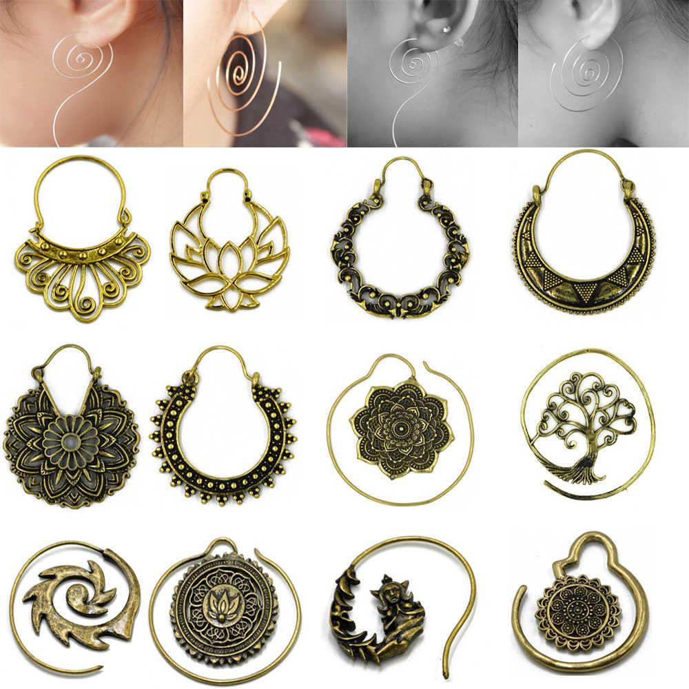 9aaee9070c93f Brass Gold Tone Ornate Swirl Hoop Gypsy Indian Beaded Mandala Lotus Flower  Tribal Ethnic Earring Boho ear Piercing Body Jewelry