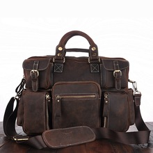 Crazy Horse Leather Travel Bag Vintage Style Cowhide Leather Duffle Bags Laptop Case Handbags for Men and Women MUSHI2034
