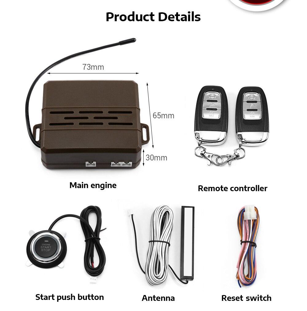 Kit de télécommande de voiture 12 V démarrage par bouton-poussoir dispositif antivol RFID verrouillage automatique de la porte déverrouiller le système d'entrée sans clé pour VW Ford