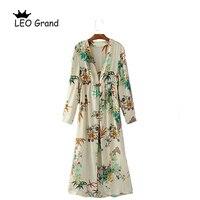 Leo Grand Floral Pattern European Style Blouse Women Spring Kimono Vintage Retro Open Stitch Design Long