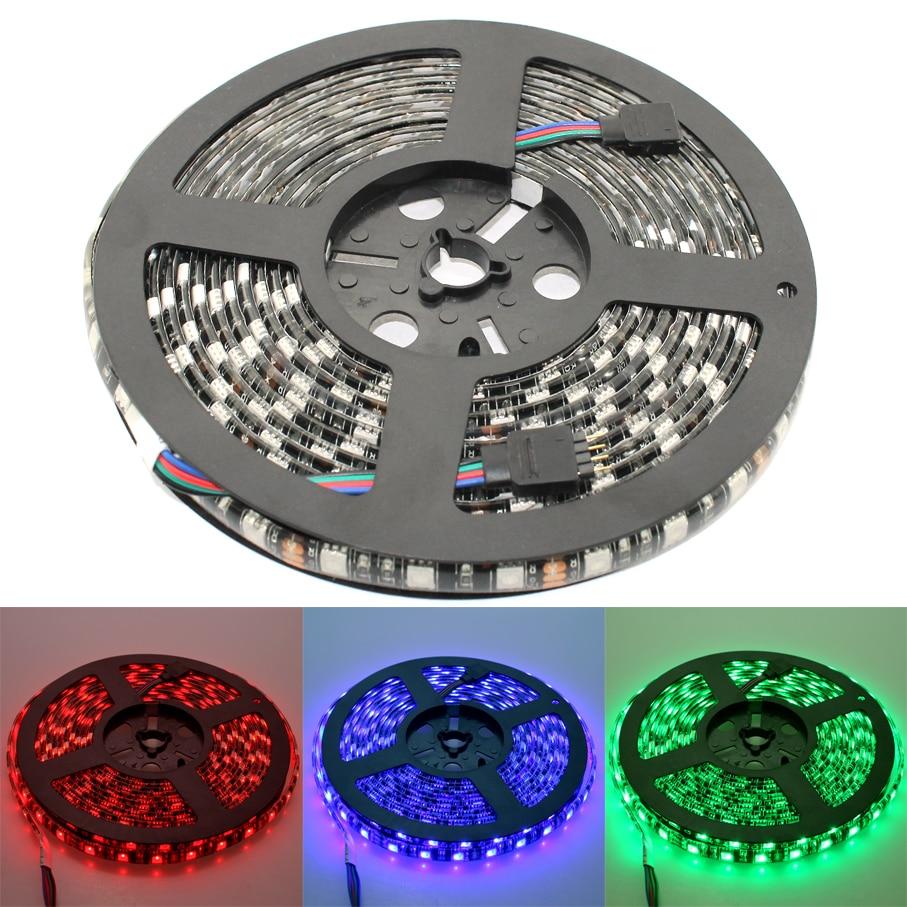 Led Strip SMD 5050 DC 12V RGB Black PCB Waterproof IP65 60Led/M Flashlight Led Light Strip Lamp Tape Diode Flexible Ribbon
