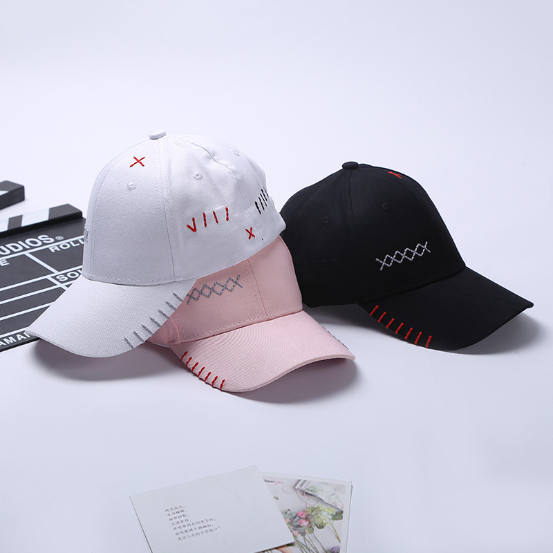Snapback Baseball Caps Summer  Embroidered Baseball Cap Low Profile Curved Bill White Black Thread For Men Women Sun Hat