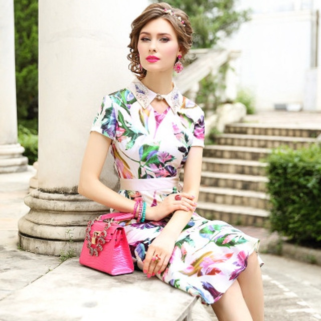 2019 print Luxury Designer autumn dress Women sexy mermaid Party Dress Plus Size Office Lady short sleeved summer Flower dresses