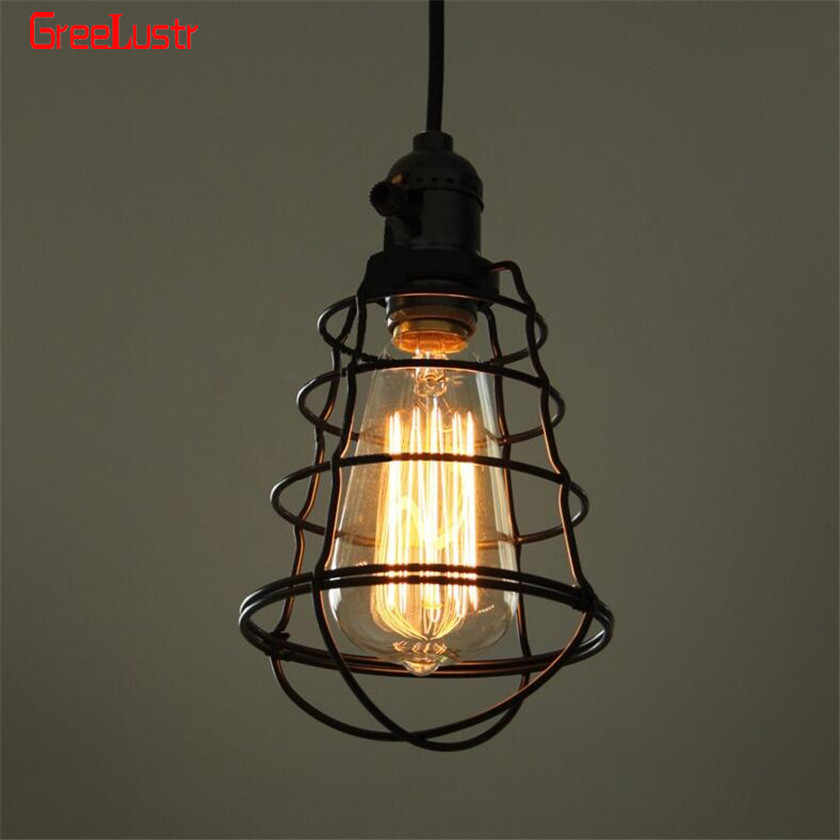 110V 220V Pendant Light Retro Wire Loft Droplight Fixture Iron Hanging light Metal Frame Lamp Holder Luminaria Lampara Vintage