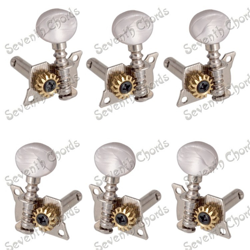 A Set 3R3L Silver String Tuning Pegs Tuners Machine Heads for Classical Acoustic Guitar With White Pearl Small жилеты silver string жилет