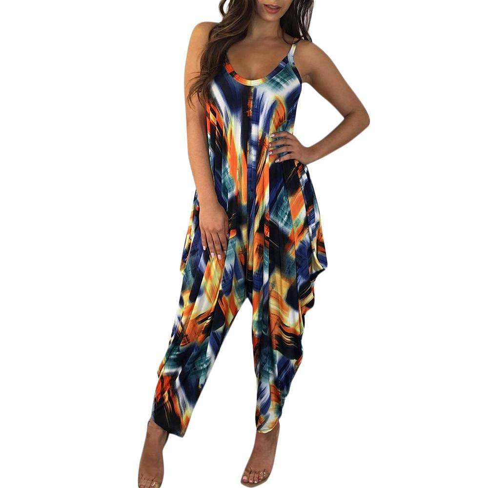 Fashion Women Summer   Jumpsuit   Sexy Ladies Boho Floral Beach Playsuit Long Maxi   Jumpsuit   Wide Leg Jumper Clothes #H