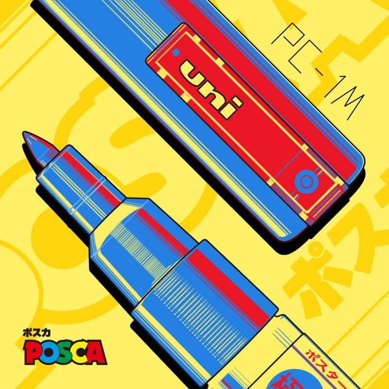 1pcs UNI Mitsubishi POSCA   PC-1M POP Poster Water-based Advertising/Graffiti   Mark Pen   0.7 Nid Character Bright And Colorful
