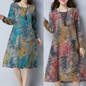 KANCOOLD Dress Fashion Women Long Sleeve O Neck Pocket Dress Cotton Linen Printed Loose Casual Dress women 2018AUG7 4