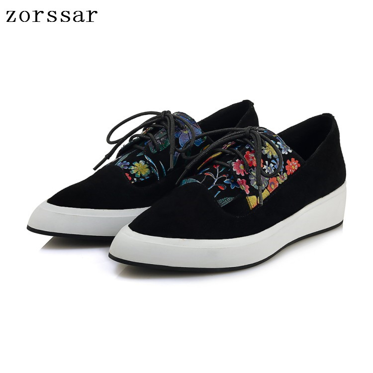 Zorssar 2019 Autumn women flats shoes Pointed toe platform shoes   leather     suede   casual shoes lace up flats footwear Creepers