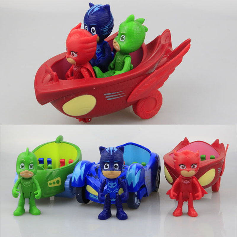 3pcs Big Size 14-17cm Car With 8.5cm Characters Can Come Out and Figures Legs and Arms Can Move Action Figures Children's Toys goki wooden traditional toys clock bears mini bead frames floating ball press and shake figures top with pull out string