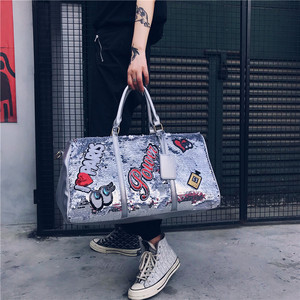 Image 2 - Fashion Travel Bag Sequins Overnight Bag Portable Duffle Bags Large Capacity Quitte Bags for Women Men Big Weekend Tote Pink