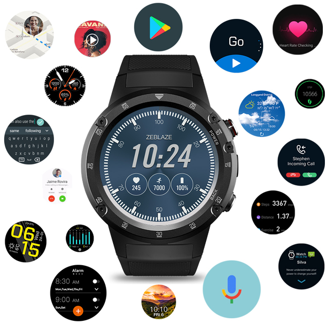 4G Wifi GPS Smart Watch Zeblaze THOR 4 Plus SIM 1GB+16GB 5.0MP Camera SmartWatches  Android 7.1 MTK6739 QuadCore Wristwatch 2019