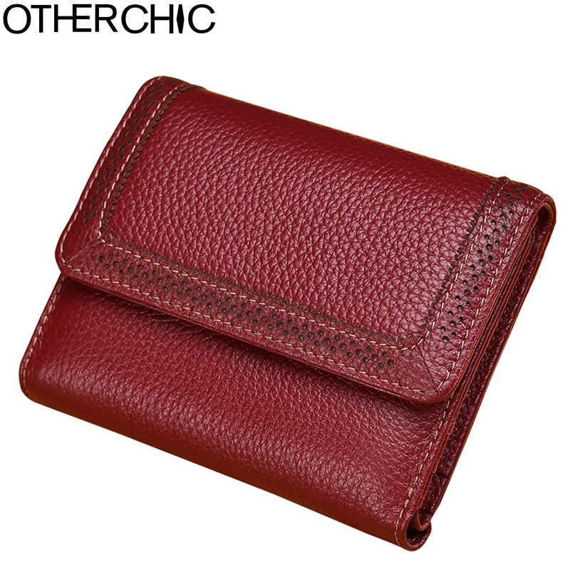 Women Vintage Short Wallets Small Wallet Coin Card Pocket Holder Real Leather Wallet Female Purses Money