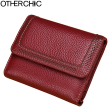 Women Vintage Short Wallets Small Wallet Coin Card Pocket Holder Real Leather Wallet Female Purses Money Clip Bag 7N01-17