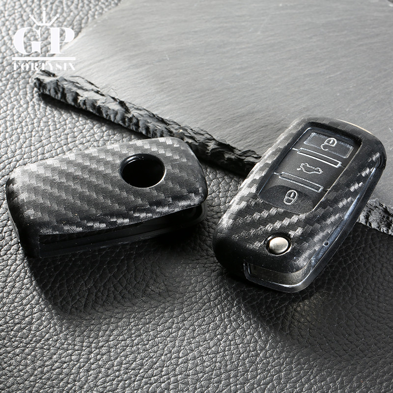 цена на Carbon Fiber Silicone car key cover case shell fob for VW Golf Bora Jetta POLO Passat For Skoda Octavia A5 Fabia SEAT Ibiza Leon