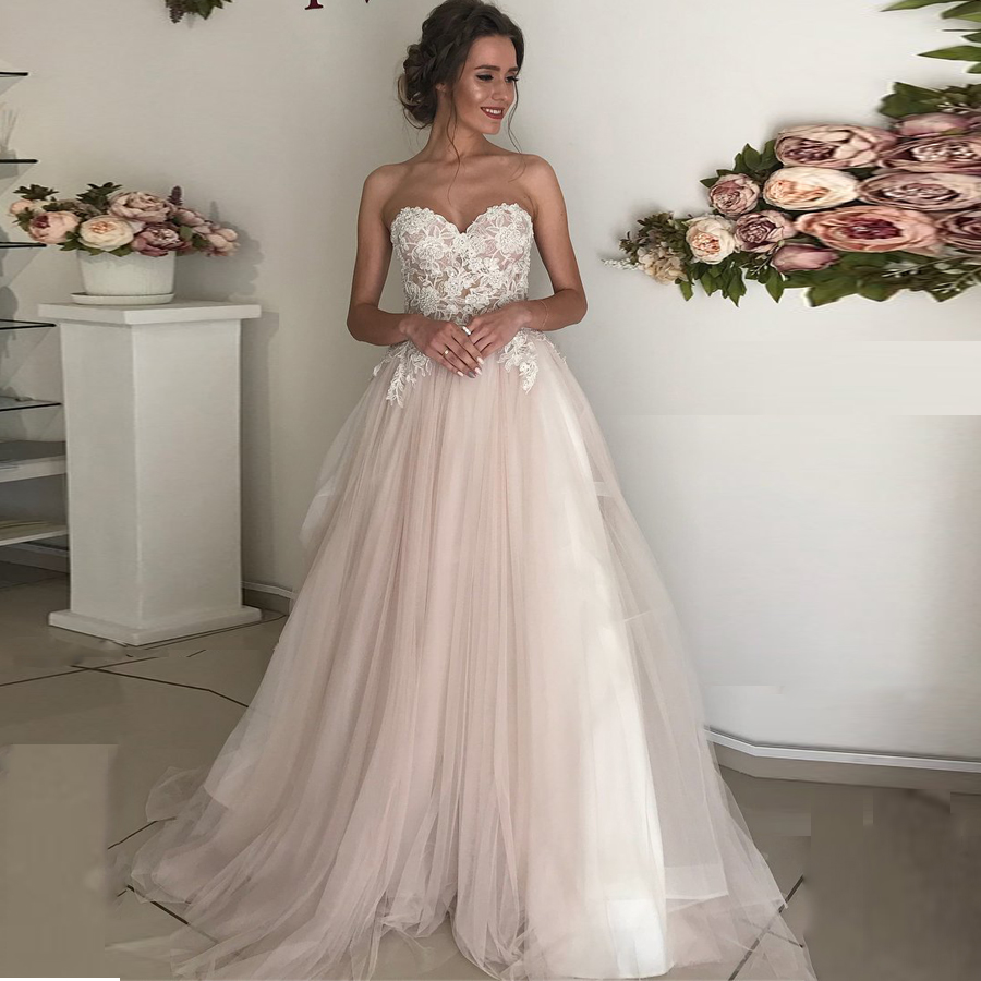 Sweetheart Neckline A line Lace Applique Tulle Wedding Dress with Backless Zipper A Belt Bridal Dress