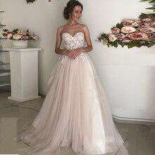 מתוקה מחשוף אונליין תחרת Applique טול חתונת שמלה עם ללא משענת רוכסן חגורה כלה שמלת Vestido דה novia