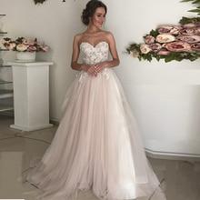 Sweetheart Neckline A line Lace Applique Tulle Wedding Dress with Backless Zipper A Belt Bridal Dress Vestido de novia