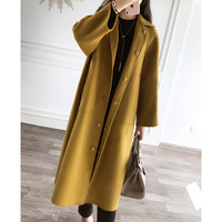 Fashion Solid Double Faced 100 Australian Wool Women Long Coat 2017 Autumn Winter New Brand Office