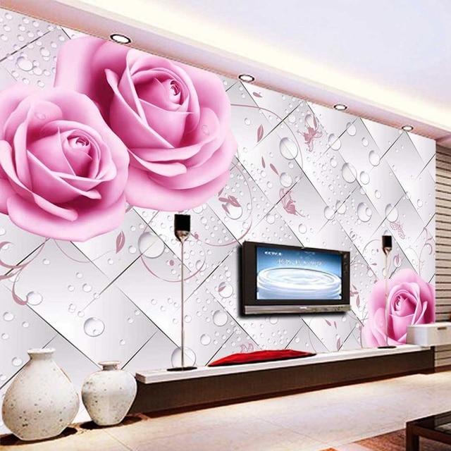 Photo Wallpaper HD Romantic Pink Flowers Water Drop 3D Stereo Mural ...